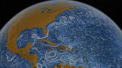 Currents in the Gulf of Mexico join ones from the Caribbean near Florida to create the Gulf Stream