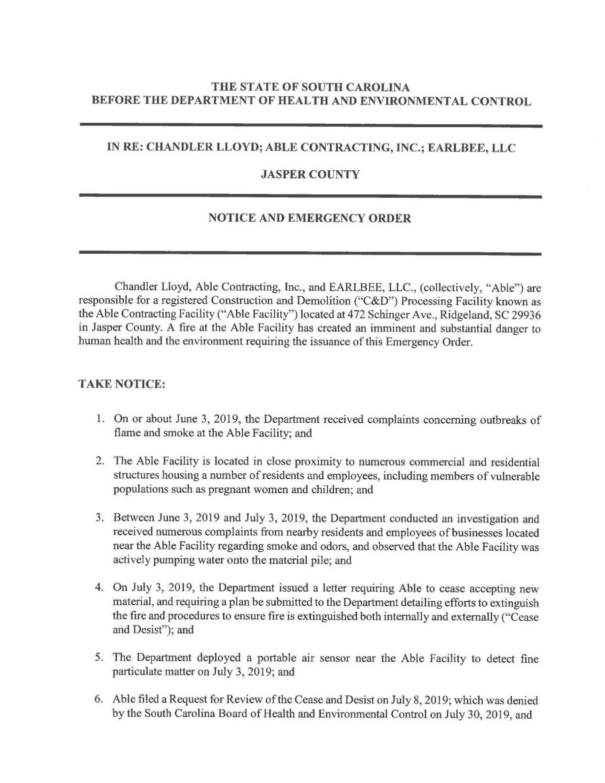 DHEC emergency order