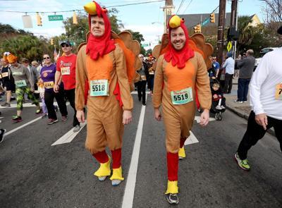 Gobble Wobble 5K two men as turkeys