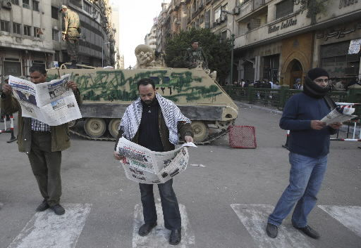 Egyptian army sides with Mubarak; tensions rise