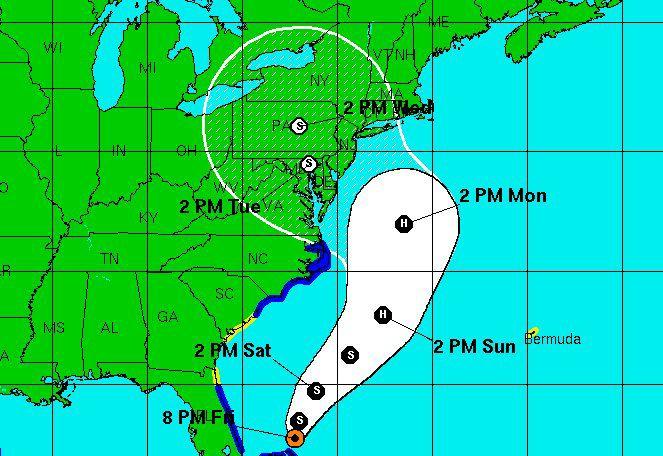 Hurricane Sandy brings tropical storm watch, high surf