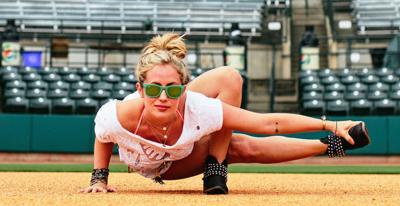 Yoga + baseball = Downward Facing RiverDog