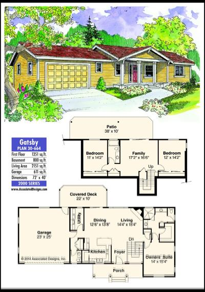 This week's house plan Gatsby 30-664 | Home and Garden ... on 1600 sq ft ranch house plans, 2400 sq ft ranch house plans, 3500 sq ft ranch house plans, 1000 sq ft ranch house plans, 5000 sq ft ranch house plans, 2200 sq ft ranch house plans, 1400 sq ft ranch house plans, 3200 sq ft ranch house plans, 4000 sq ft ranch house plans, 1700 sq ft ranch house plans,