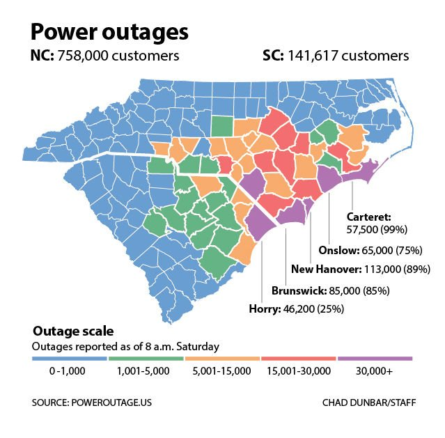 More Than 100 000 Without Power In Sc After Florence Made Landfall
