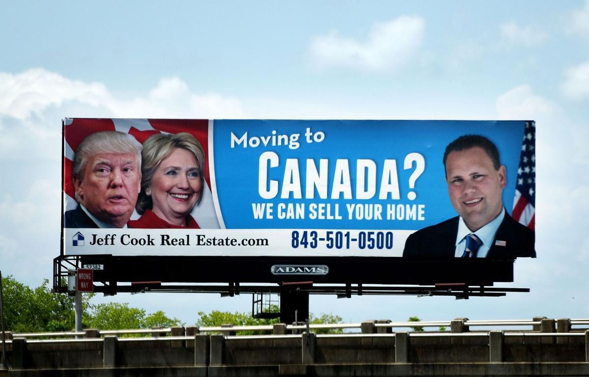 Pro-Canada, anti-Clinton-Trump billboard a good gag for house sales