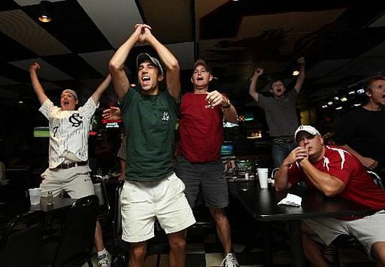 Euphoric USC fans celebrate