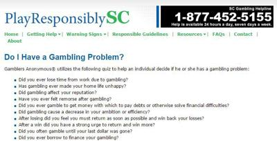 SC Gambling Addiction Help website