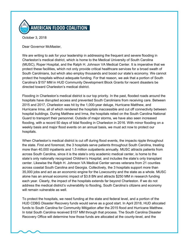 Flood coalition letter