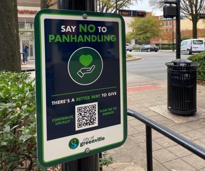 Downtown Greenville panhandling sign horizontal