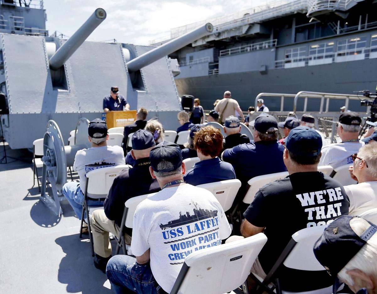 Family and friends gather on the destroyer Laffey to honor those in 1945 attack near Okinawa