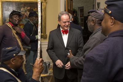 David Shields with reenactors