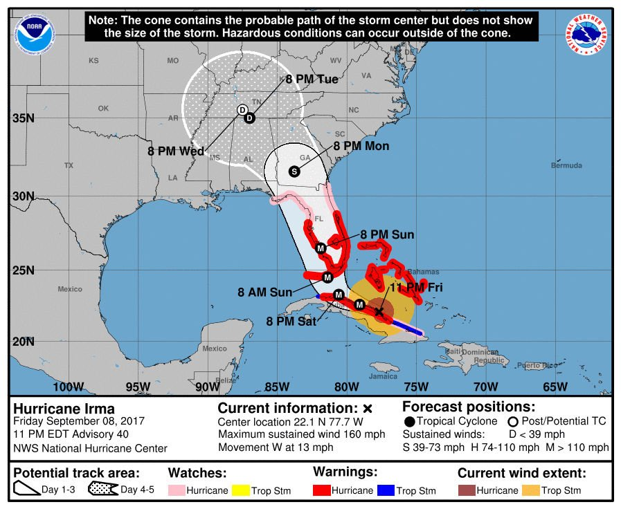 Hurricane Irma expected to intensify nearing Florida but spare