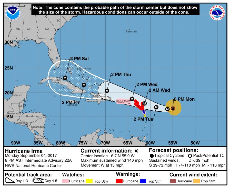 Dangerous Hurricane Irma continues to strengthen as likelihood