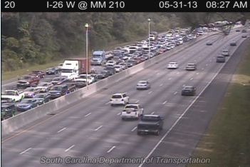 Five-car wreck on Interstate 26 eastbound causing traffic delays