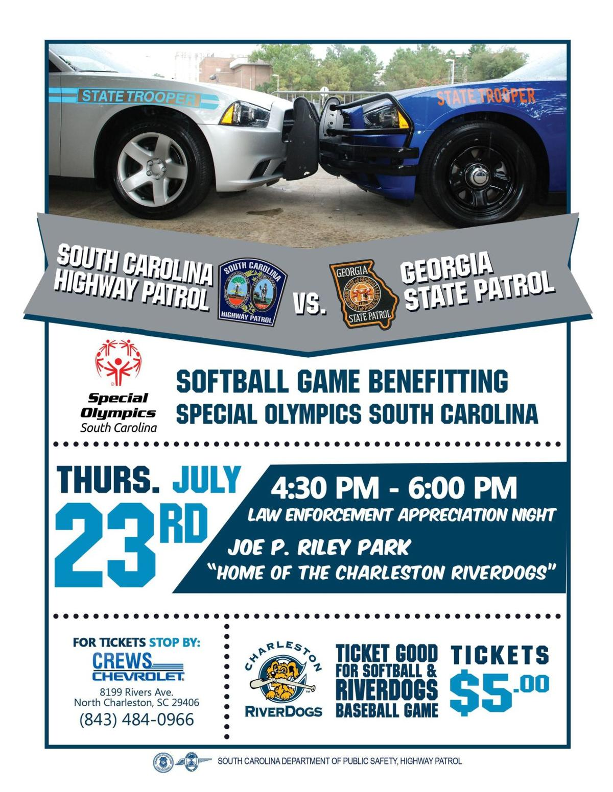 S.C., Georgia state troopers to play benefit softball game for Special Olympics