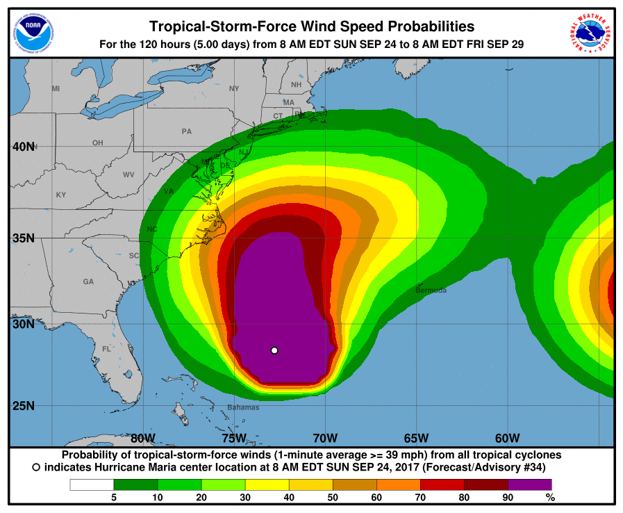 Hurricane Maria could cause risky  currents along United States  coast