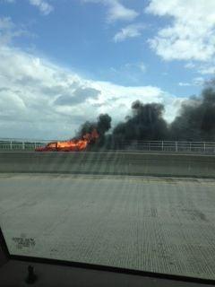 Pickup truck fire snarls traffic on Ravenel Bridge