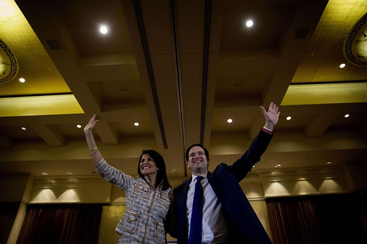 Haley speaks for a hoarse Rubio in Ga., chides Trump for not disavowing white supremacists