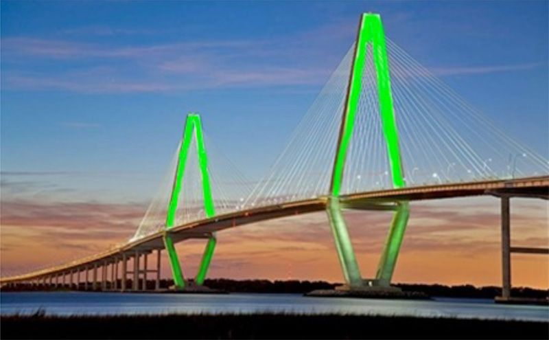 Ravenel Bridge may glow with Irish pride