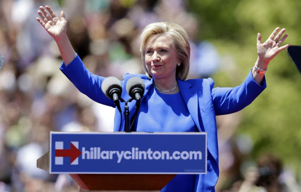 Crowds gather for Clinton's 2016 campaign kickoff rally
