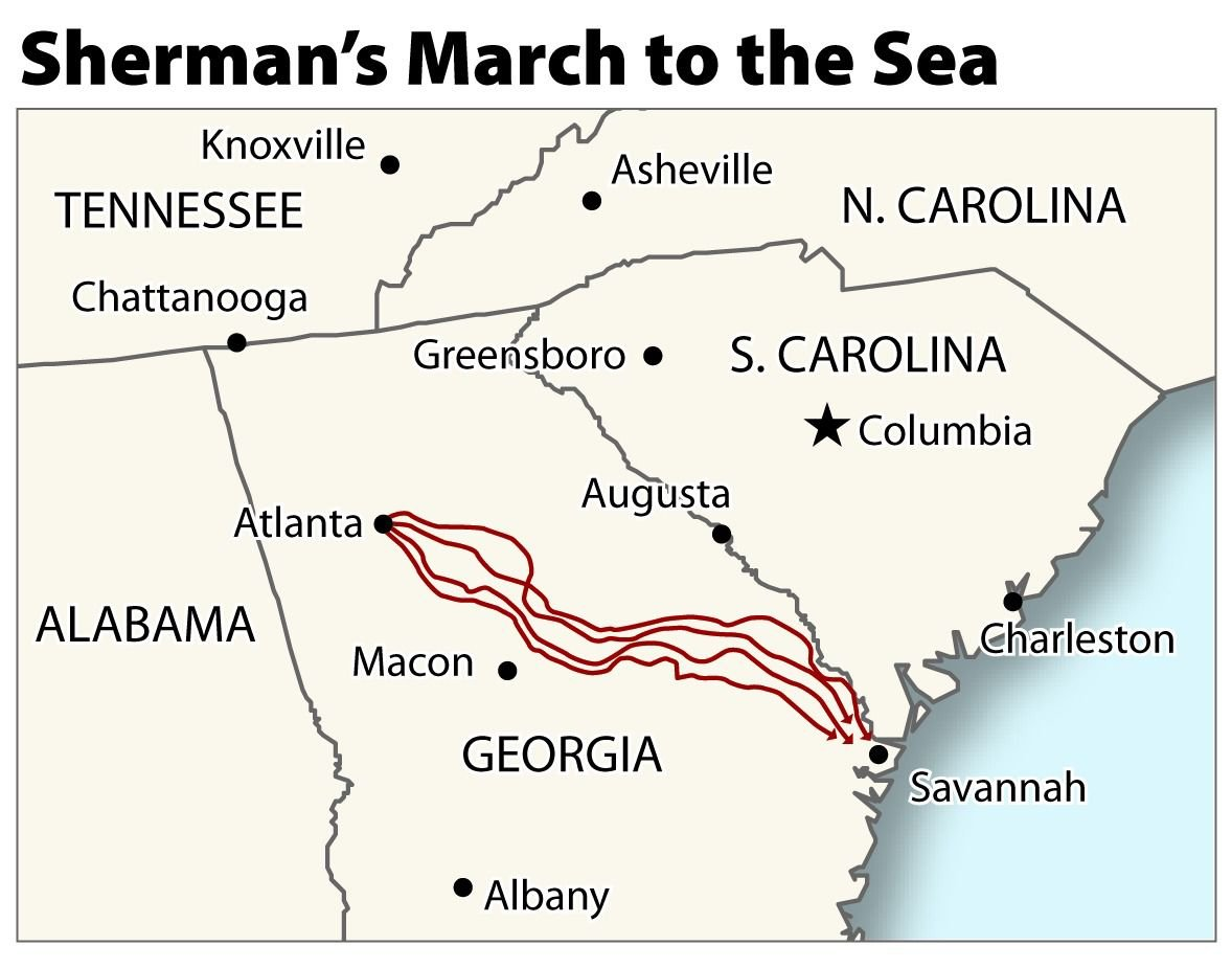 Sherman's March to Sea still vivid 150 years later ... on atlanta campaign map, george b. mcclellan, confederate states of america, bleeding kansas map, pickett's charge map, battle of fredericksburg map, battle of antietam map, james longstreet, gettysburg campaign map, american civil war, battle of perryville map, battle of nashville map, battle of atlanta map, jefferson davis, vicksburg campaign map, anaconda plan map, battle of shiloh, battle of fort sumter, fort sumter map, philip sheridan, appomattox court house map, battle of resaca map, george meade, battle of gettysburg, ambrose burnside, george armstrong custer, morgan's raid map, battle of vicksburg, ulysses s. grant, battle of antietam, stonewall jackson, robert e. lee, second battle of bull run map, chattanooga campaign map, battle of olustee map, american civil war map, first battle of bull run, george pickett,