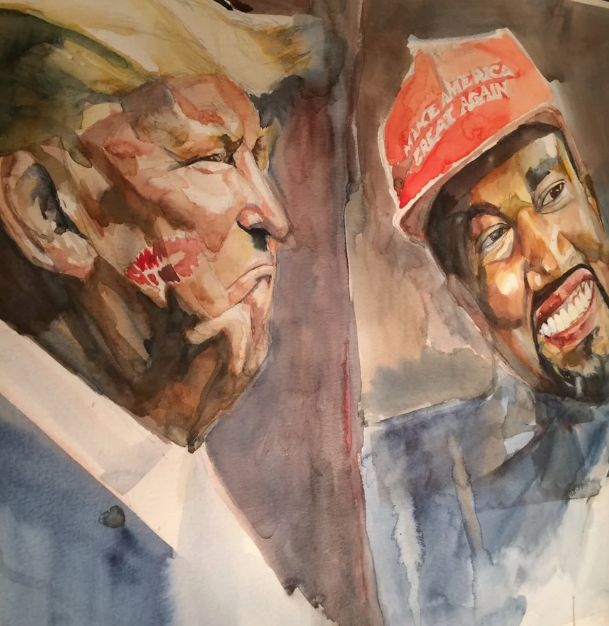Ment Nelson's portrait of Trump and Kanye