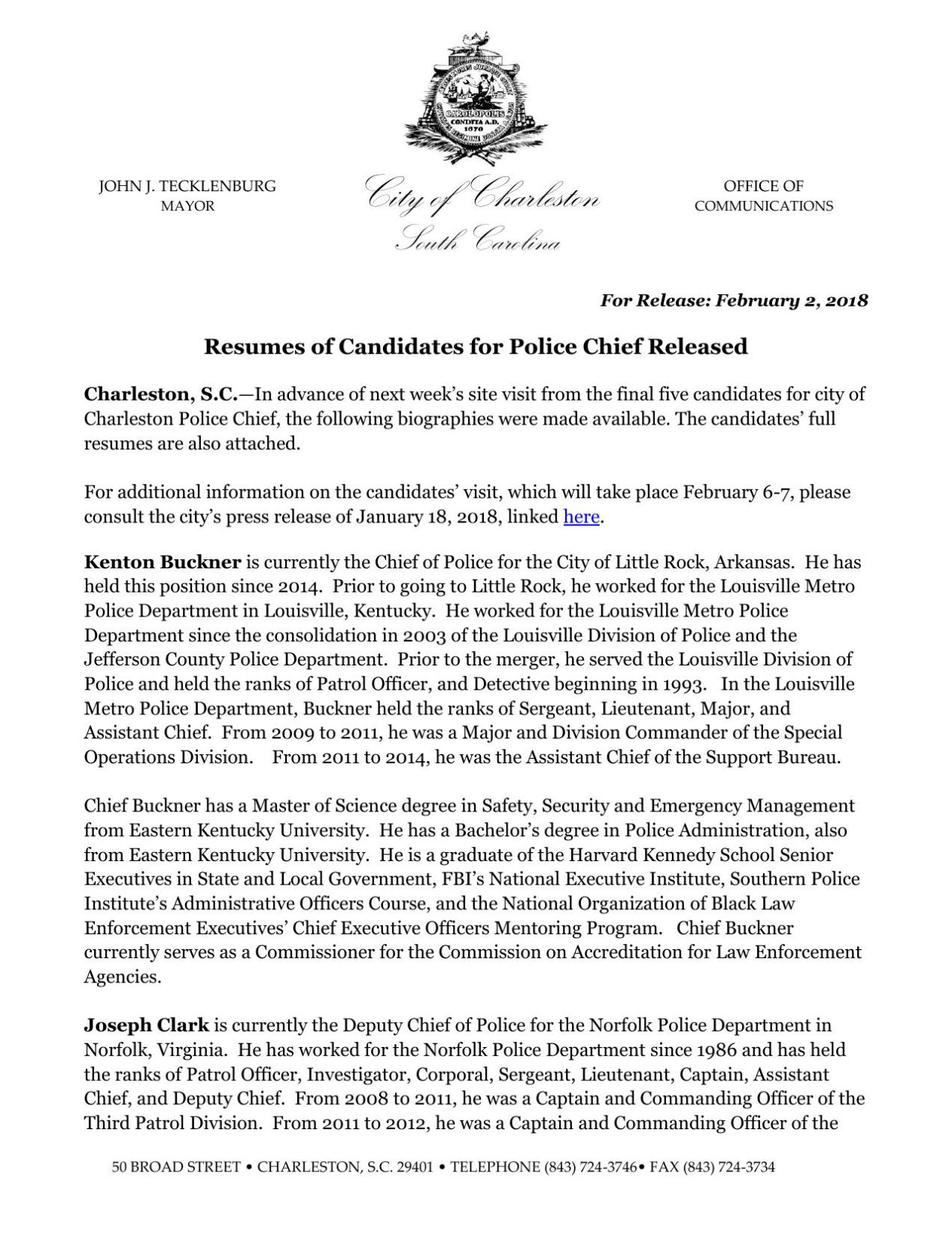 Download PDF Bios Of Five Finalists For Charleston Police Chief  Chief Of Police Resume