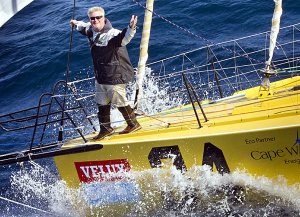 Battered Velux 5 fleet sails on