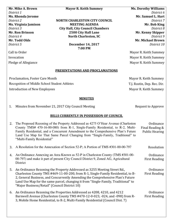 Thursday, Dec. 14 City Council Agenda