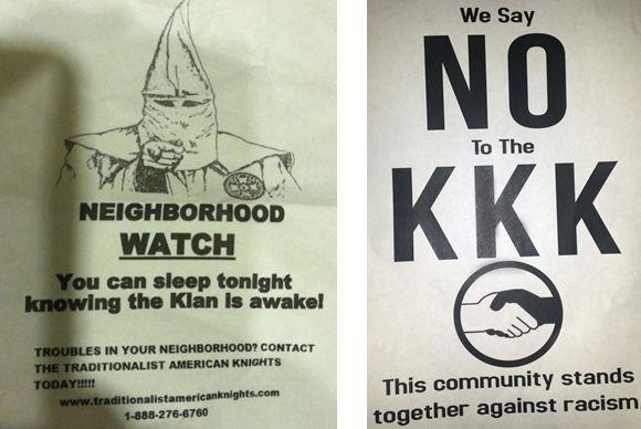 Neighbors plan to meet after finding KKK fliers