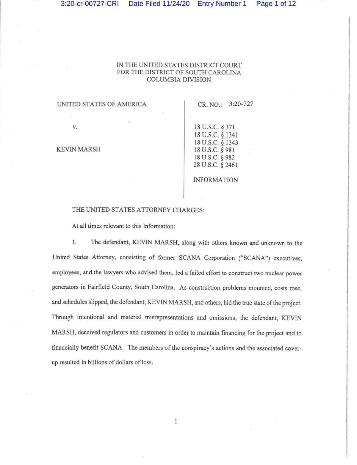 Kevin Marsh plea filing