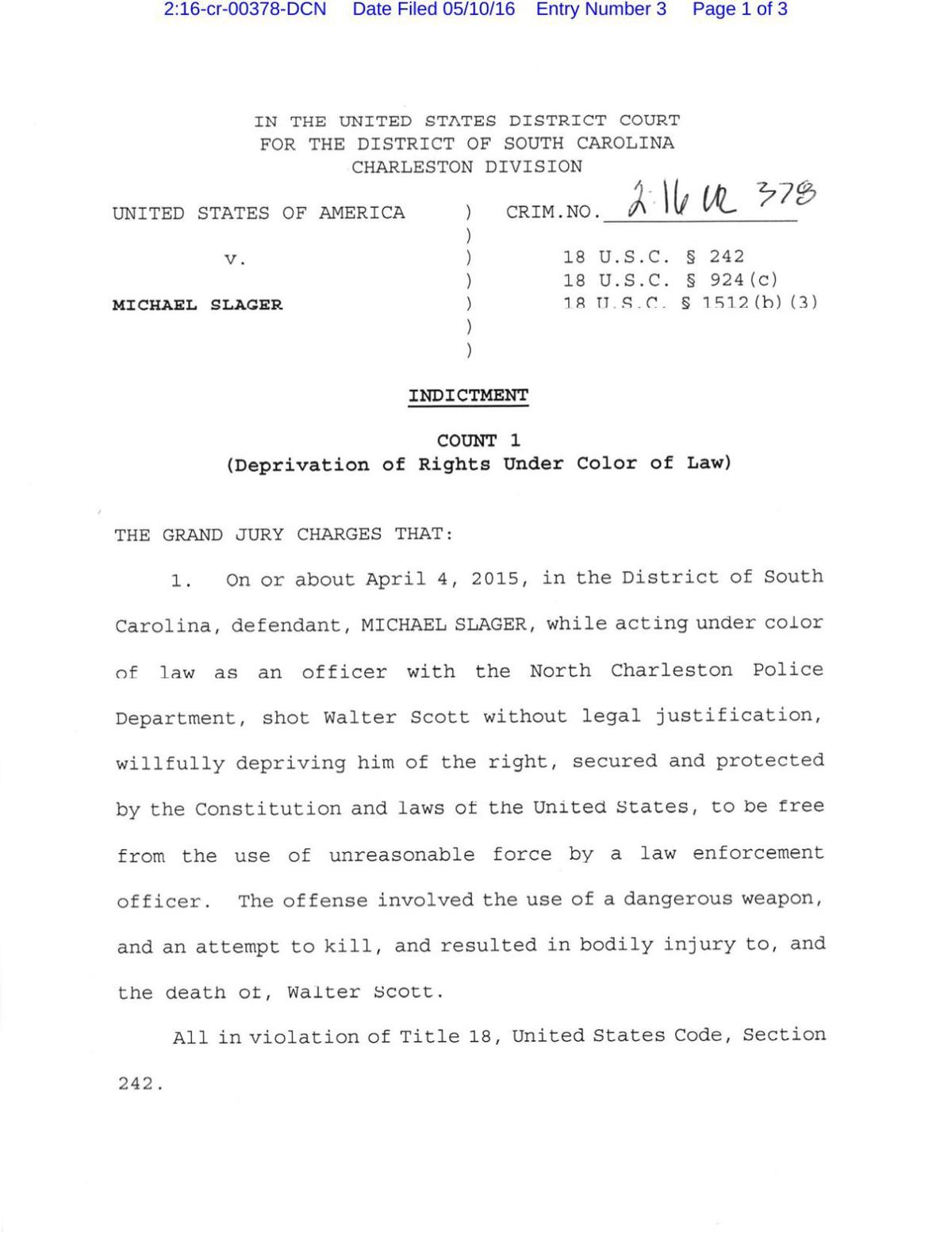 Michael Slager indictment