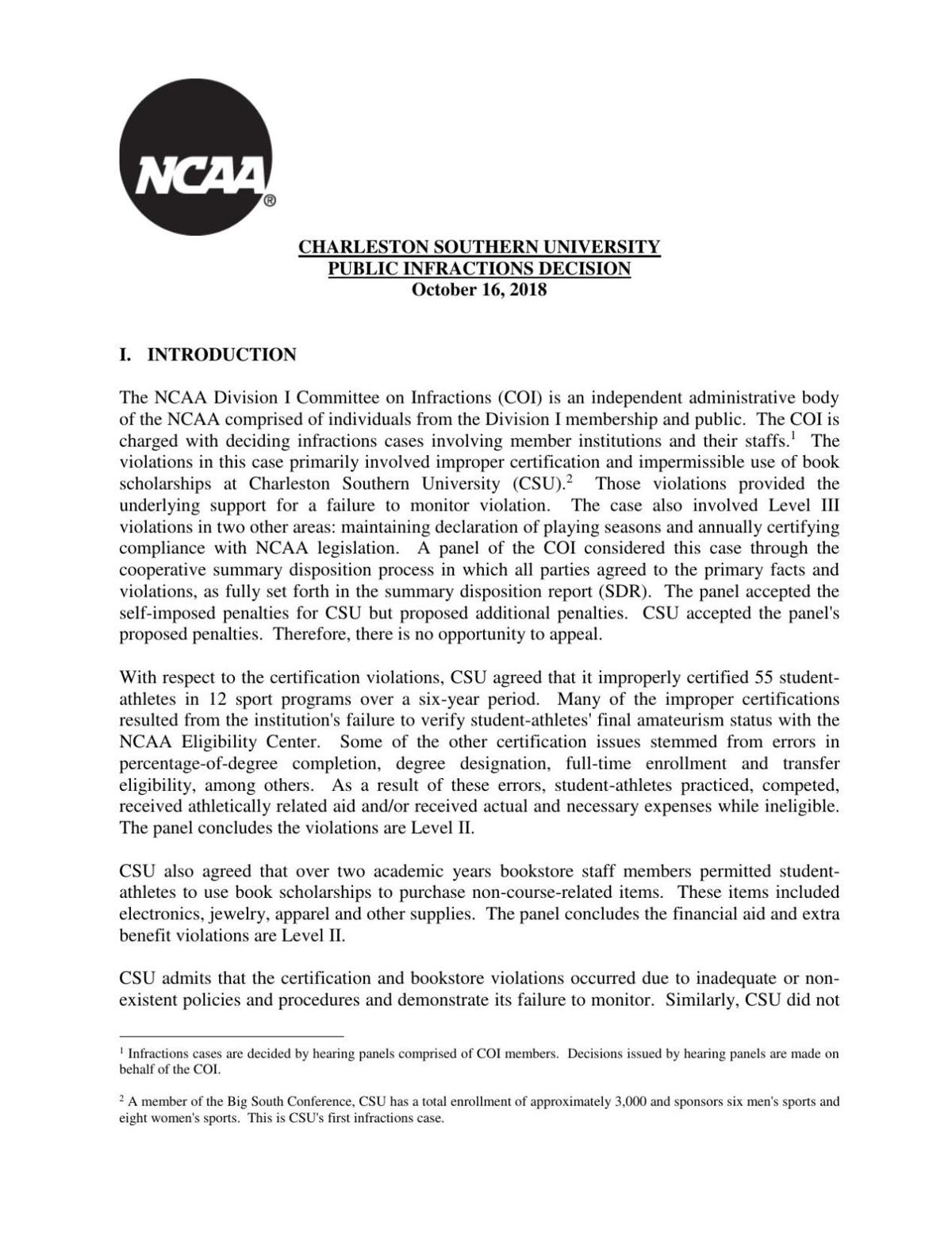 NCAA report on Charleston Southern