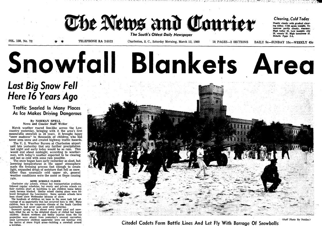 To the Archives! Yes, it does snow in Charleston — sometimes ...