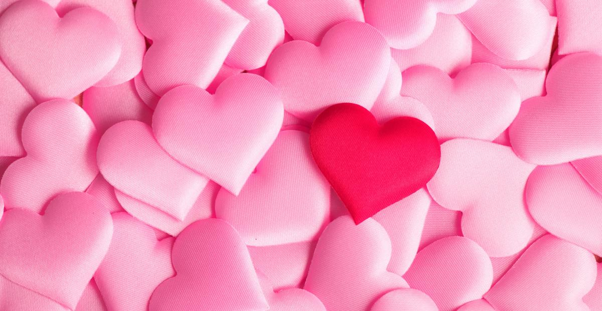 Valentine's Day light pink hearts with one bright pink heart