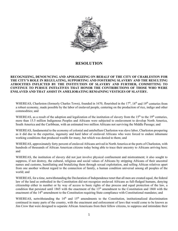 Resolution denouncing slavery