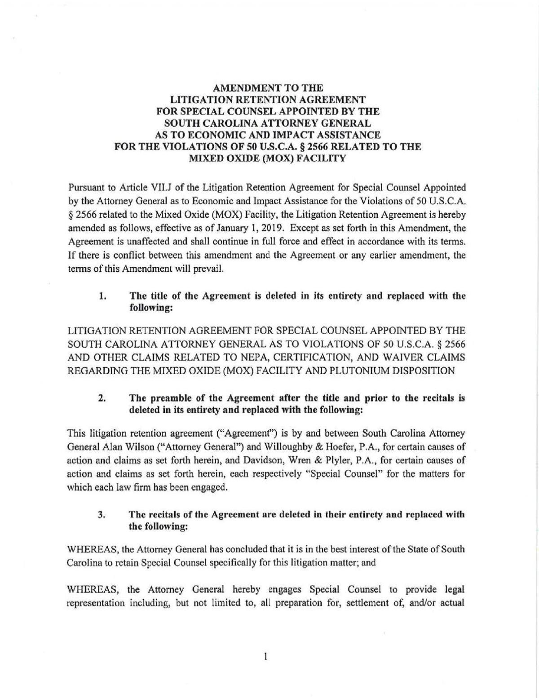 Plutonium outside counsel agreement