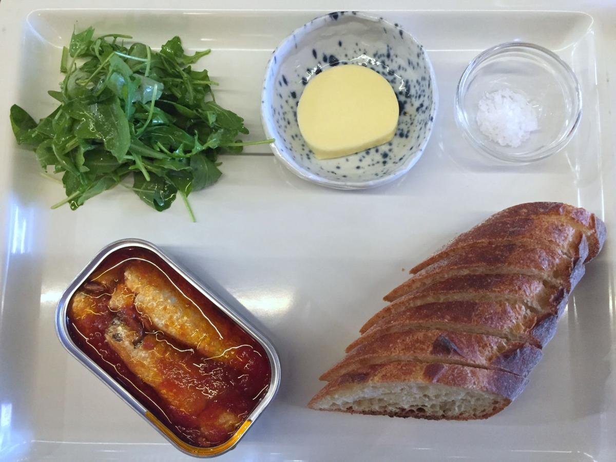 Tinned seafood leads the food menu at Stems & Skins