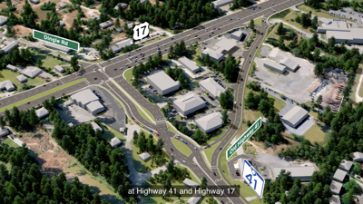 Intersection of highways 41 and 17 under Alternative 1 (copy)
