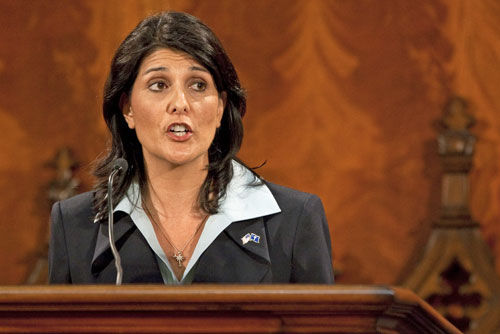 Haley's trip during veto vote raises brows