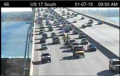 Southbound lane on Ravenel Bridge closed after truck loses load