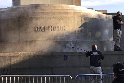 Calhoun monument cleaning