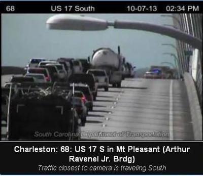 Traffic backed up on southbound lanes of Ravenel Bridge