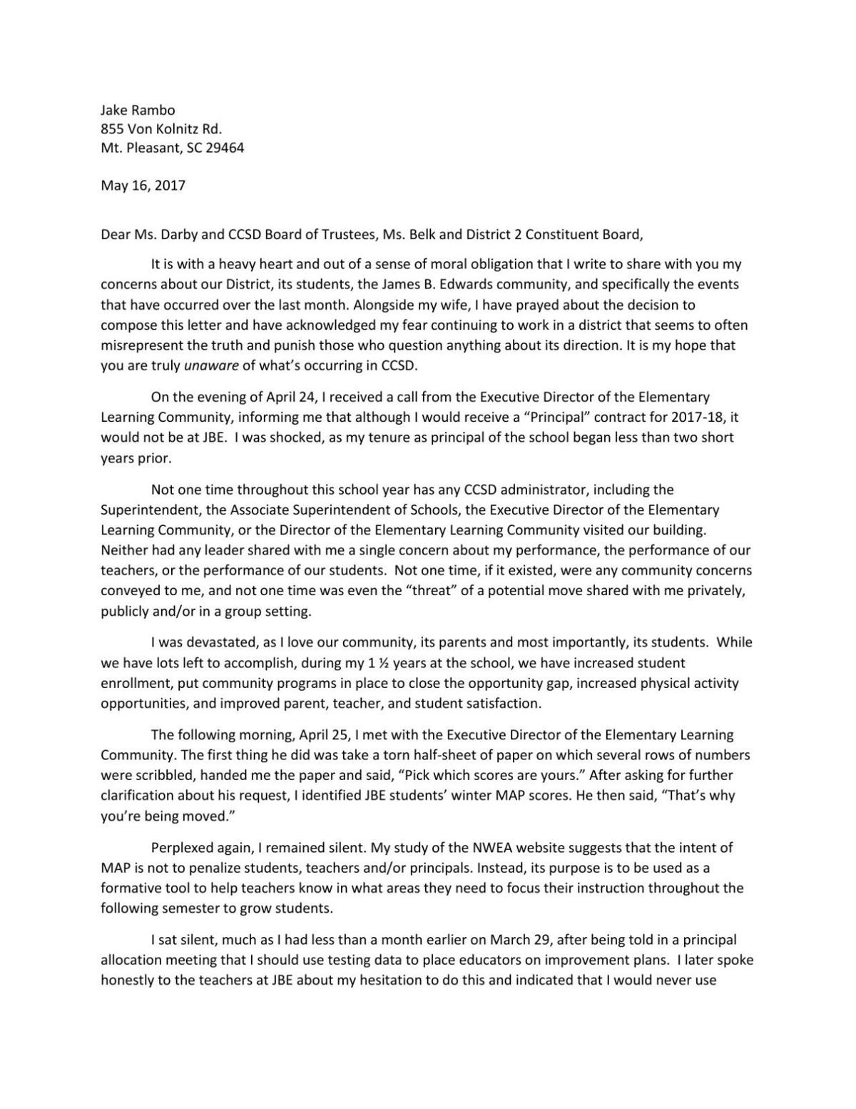 Letter From Jake Rambo Postandcourier