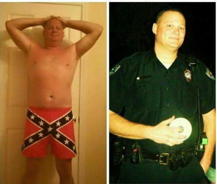 Timing questioned in cop's firing over Confederate shorts