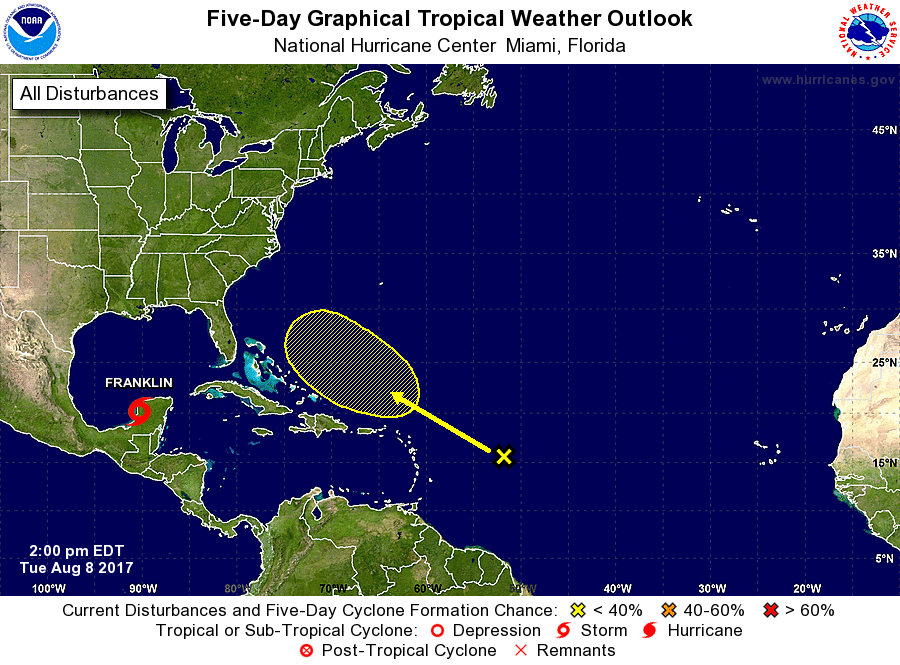 Tropical Storm Franklin expected to become first hurricane of Atlantic season