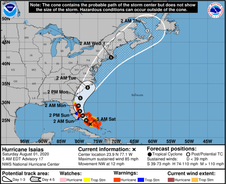 Hurricane Isaias slowing, expected to hit SC as...