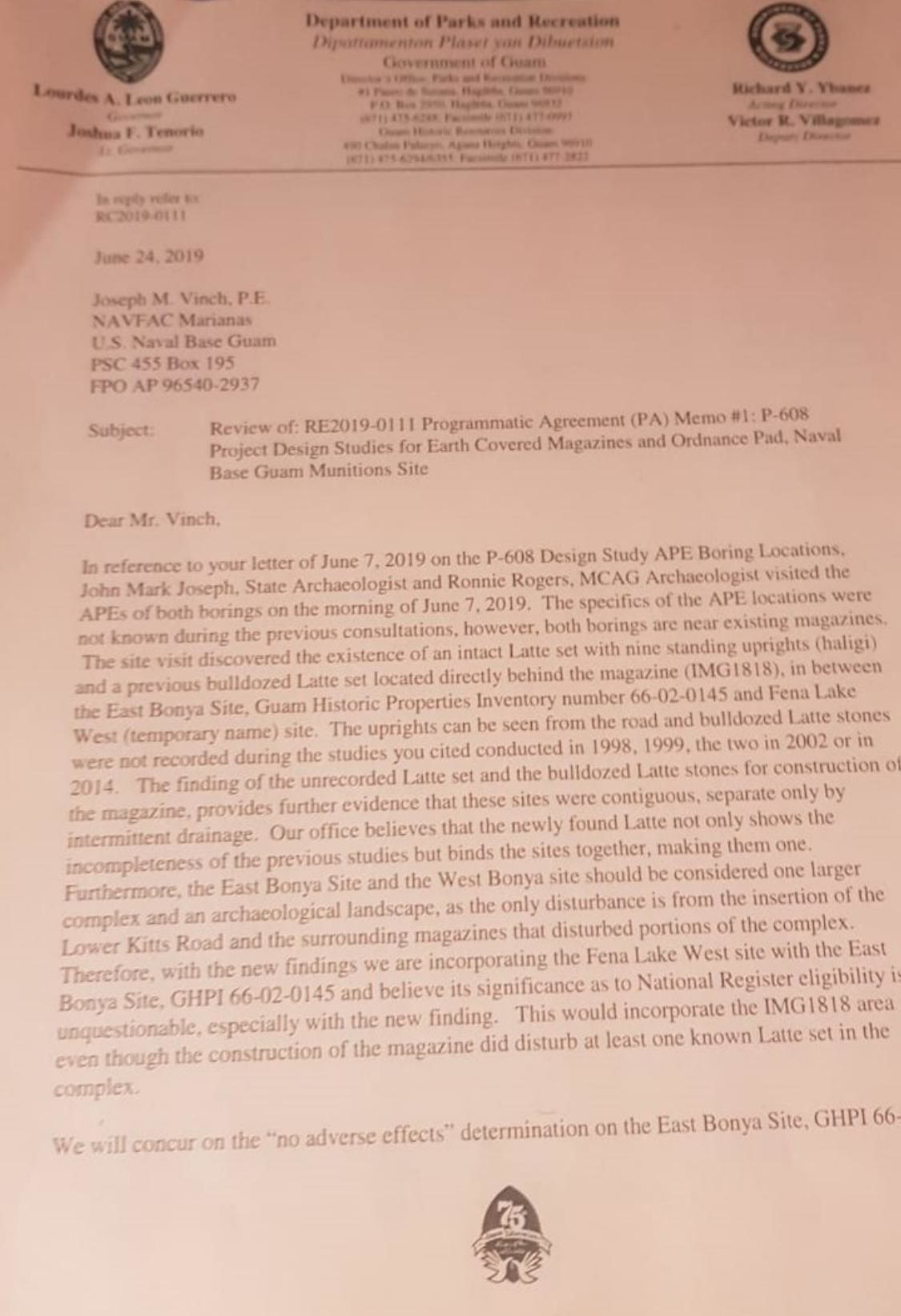 Ybanez letter to Vinch