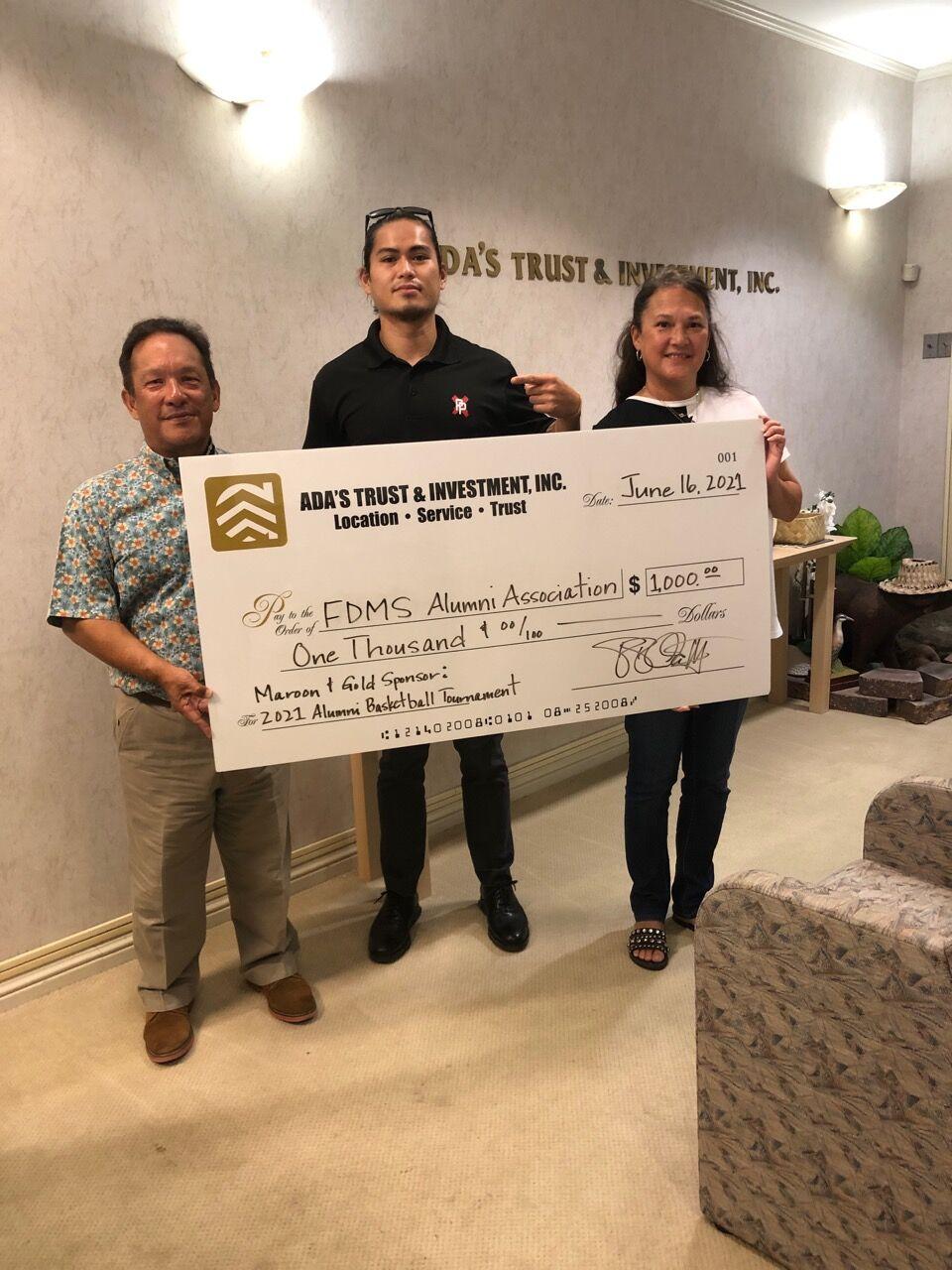 Ada's Trust and Investment donates to FDMS alumni tournament