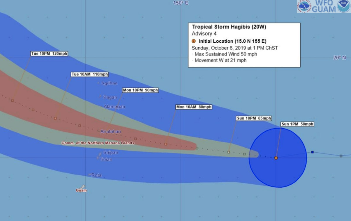 Guam in Tropical Storm Watch as Hagibis' track shifts